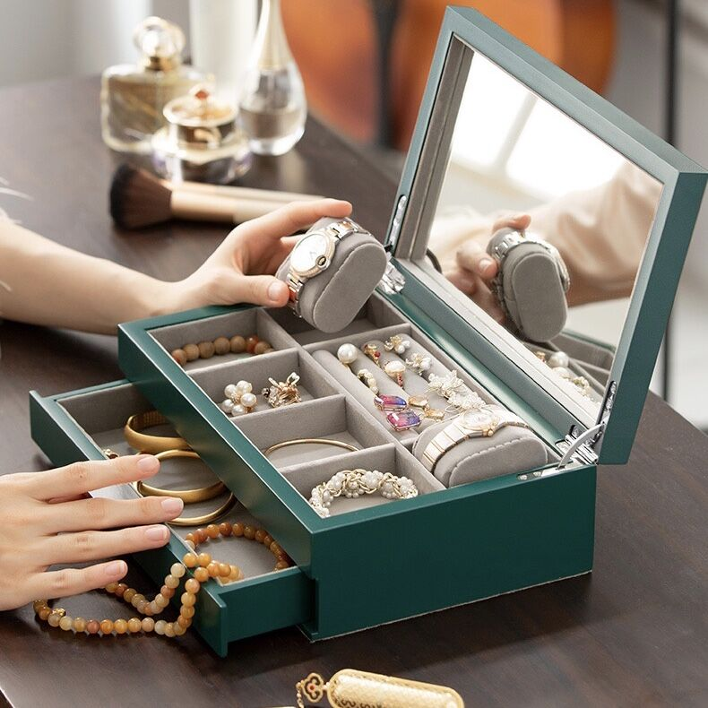Hand Carved, Jewelry Box Organizer Mirrored Storage Display Case Watch Storage
