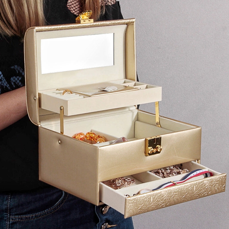3 Layers Wooden Jewelry Box with with Lock And Mirror Korean Retro Storage Box - Nillishome