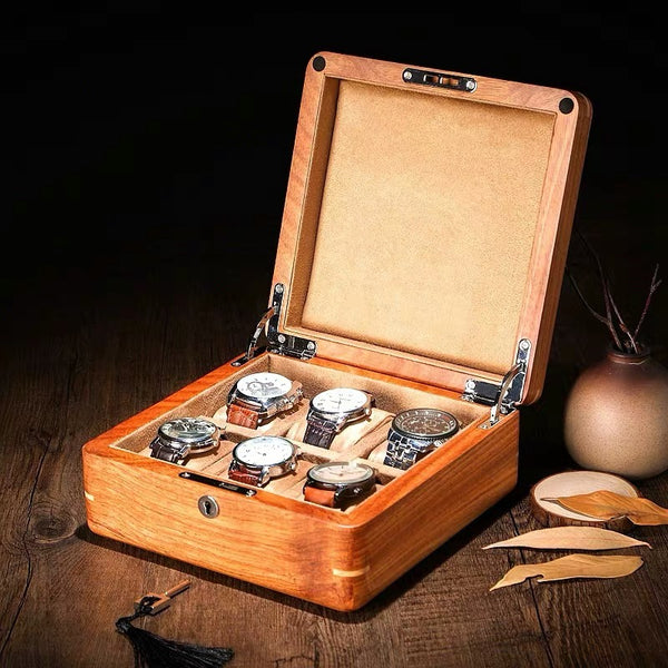 Natural RoseWood Wooden Watch Storage Box Organizer With Lock Jewelry Box - Nillishome