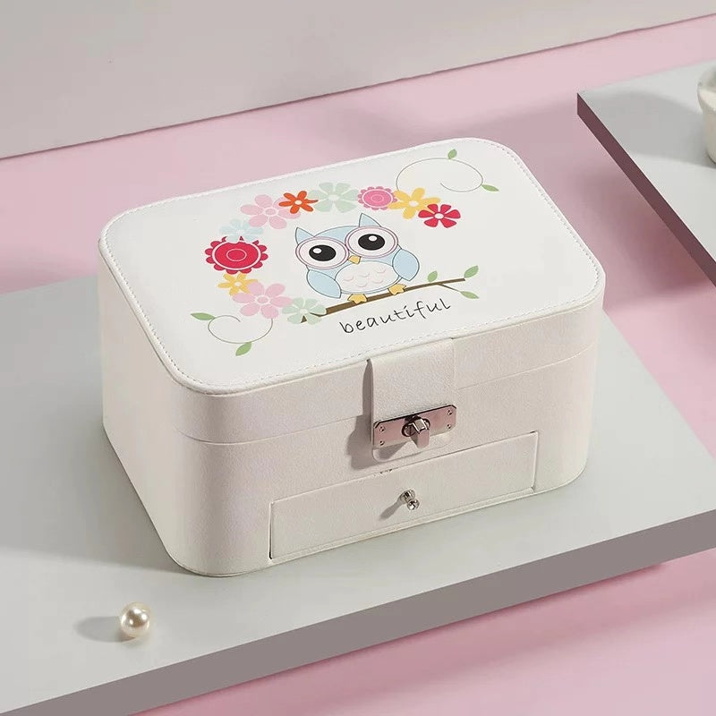 Cartoon 2 Layers Portable Jewelry Box Princess Girls Organizer