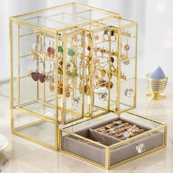 Glass Jewelry Box With Three Closet for Necklace Earrings Rings - Nillishome