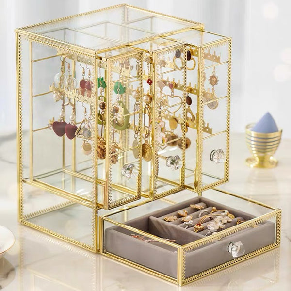 Glass Jewelry Box With Three Closet for Necklace Earrings Rings