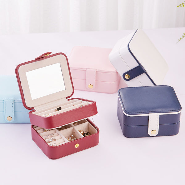 Portable Jewelry Organizer Box Accessories Holder -With Mirror - Nillishome