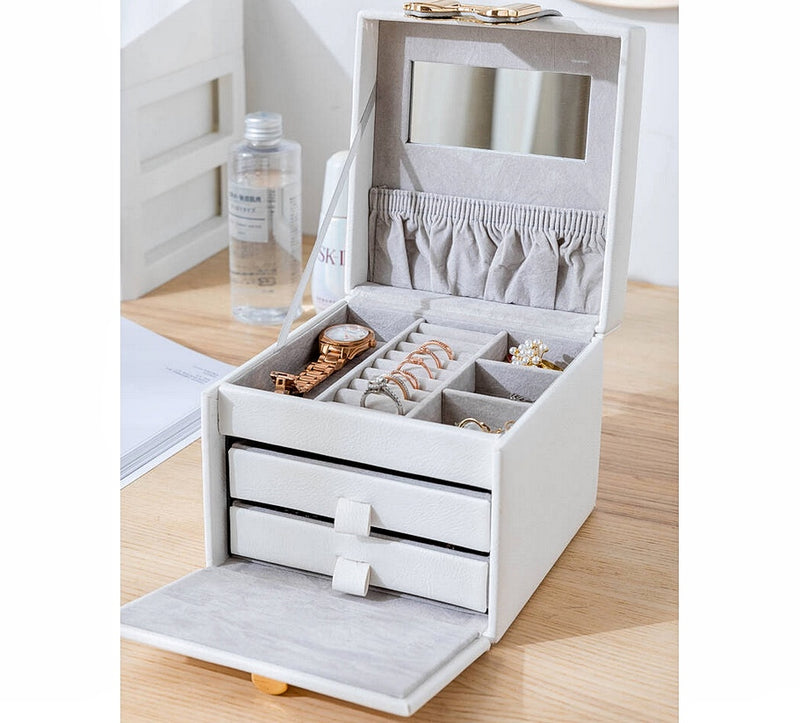 Portable Special Design 3 Layers Jewelry Box Organizer With Mirror - Nillishome