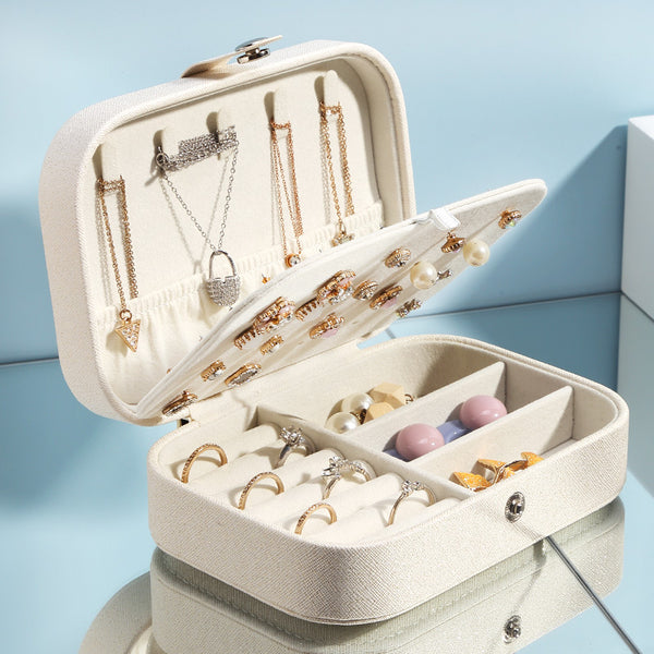 Portable Double Layer Travel Synthetic Leather Jewelry Box