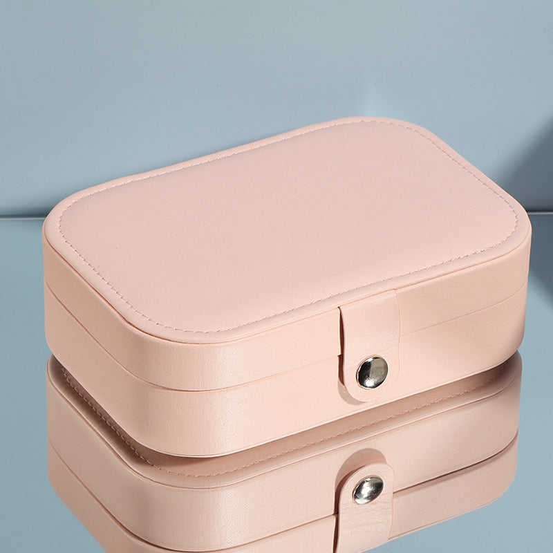 Portable Double Layer Travel Synthetic Leather Jewelry Box - Nillishome