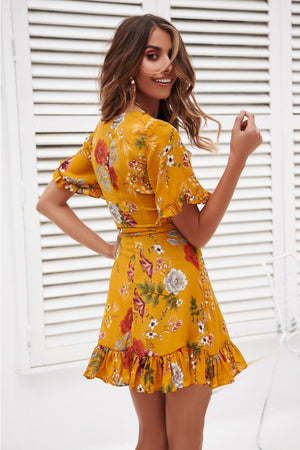 Veronica Yellow Ruffle Dress