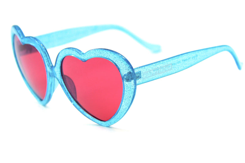 Heart Ons | Blue Sparkle | Red Lens