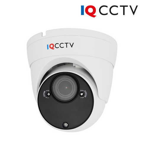 IQCCTV - 5MP 4in1 HD/Analogue Varifocal Vandal Eyeball/Turret Dome Camera, Starlight, 2.8-12mm, 60m IR, IP66, White - 1 Year Warranty<br><small>Model: IQC5000VV-W-2</small>