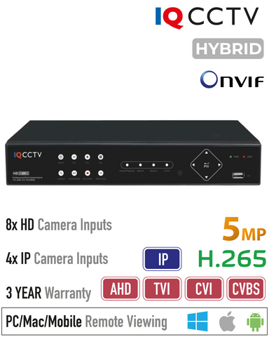5MP Lite 8 Channel Hybrid 5in1 DVR<br>(Model: IQR5000D8H-2)