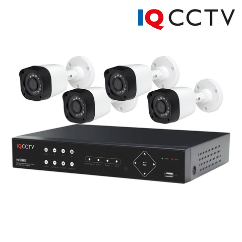 IQCCTV - 2MP HD CCTV Kit with 4 Bullet Cameras, 4 Camera 1TB DVR - 1 Year Warranty<br><small>Model: IQS4-2000-B-24H-1T</small>
