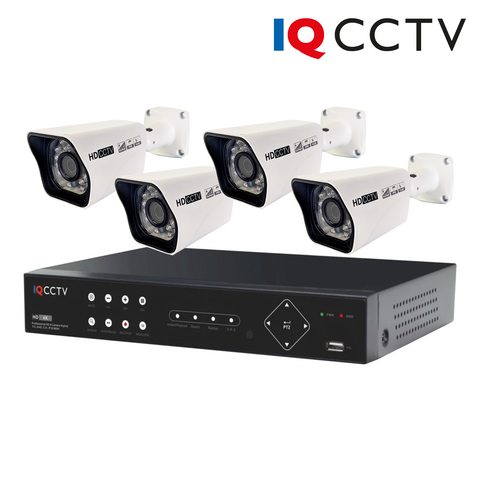 IQCCTV - 2MP HD CCTV Kit with 4 Bullet Cameras, 4 Camera 1TB DVR - 1 Year Warranty<br><small>Model: IQS4-2000-B4H-1T</small>