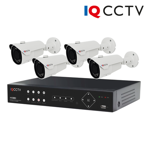IQCCTV - 2MP HD CCTV Kit with 4 Varifocal Bullet Cameras, 4 Camera 1TB DVR - 1 Year Warranty<br><small>Model: IQS4-2000-BV4H-1T</small>