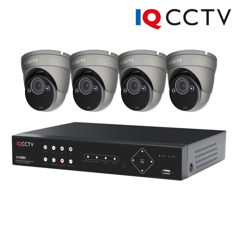 IQCCTV - 2MP HD CCTV Kit with 4 Eyeball/Turret Varifocal Dome Cameras (Grey), 4 Camera 1TB DVR - 1 Year Warranty<br><small>Model: IQS4-2000-VV-G4H-1T</small>
