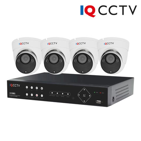 IQCCTV - 2MP HD CCTV Kit with 4 Eyeball/Turret Varifocal Dome Cameras, 4 Camera 1TB DVR - 1 Year Warranty<br><small>Model: IQS4-2000-VV-W4H-1T</small>