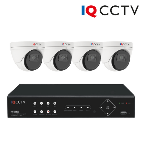 IQCCTV - 5MP HD CCTV Kit with 4 Eyeball/Turret Dome Cameras, 8 Camera DVR 1TB DVR - 3 Year Warranty<br><small>Model: IQS4-5003-V4H8-1T</small>