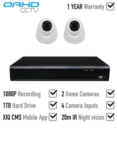 1080P 2 x AHD IR Dome CCTV System<br><small>Model: OAHD-1080-S-V2-2-1T</small>