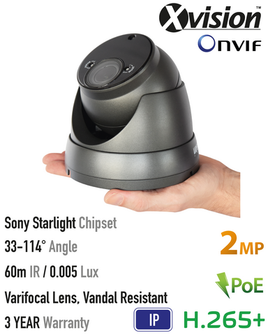 Xvision 2MP IP Starlight Vandal Dome Camera<br><small>Model: X4C2000VV-G</small>
