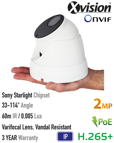 Xvision 2MP IP Starlight Vandal Dome Camera<br><small>Model: X4C2000VV-W</small>