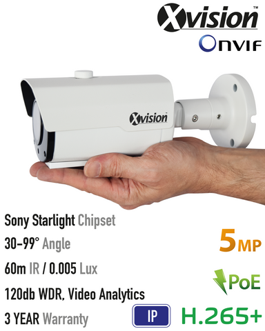 Xvision 5MP IP Starlight Bullet Camera, 120dB WDR, VA<br><small>Model: X5C5000BM-W</small>
