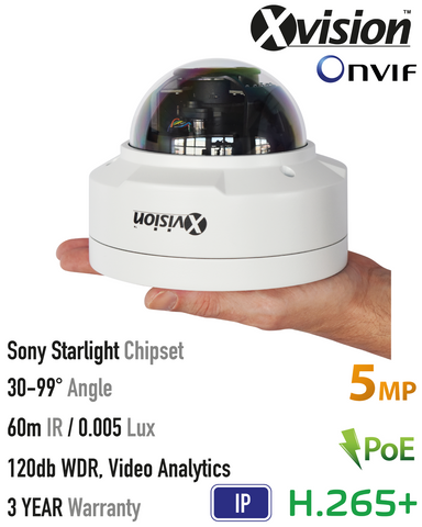Xvision 5MP IP Starlight Vandal Dome Camera, 120dB WDR, VA<br><small>Model: X5C5000TM-W</small>