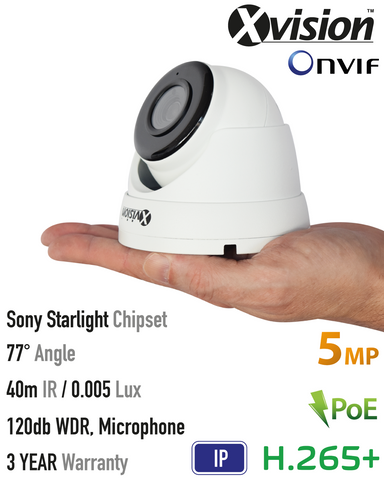 Xvision 5MP IP Starlight Vandal Dome Camera, 120dB WDR, VA<br><small>Model: X5C5000V-W</small>