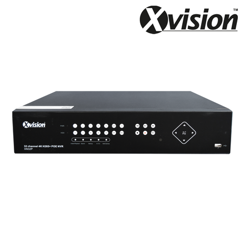 XVISION - 5MP 32 Channel NVR, H265, 16 PoE Ports, Touch Panel, Video Analytics Ready<br><small>Model: X2R32N</small>