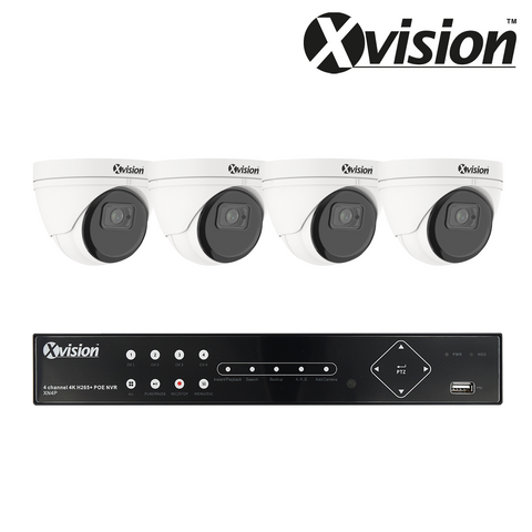 XVISION - 5MP IP CCTV Kit with 4 Eyeball/Turret Dome Cameras, 4 Camera 1TB NVR - 3 Year Warranty<br><small>Model: XVS4-5000-V4P-1T</small>