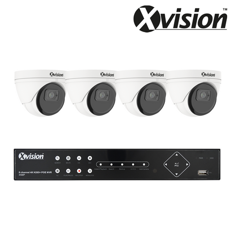 XVISION - 5MP IP CCTV Kit with 4 Eyeball/Turret Dome Cameras, 8 Camera 1TB NVR - 3 Year Warranty<br><small>Model: XVS4-5000-V8P-1T</small>