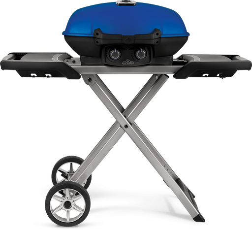 TravelQ™ 285X Portable Propane Gas Grill with Scissor Cart, Blue