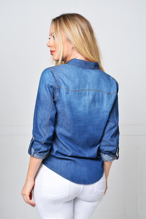 Not Your Average Denim Shirt DARK - Fashion Effect Store  - 2