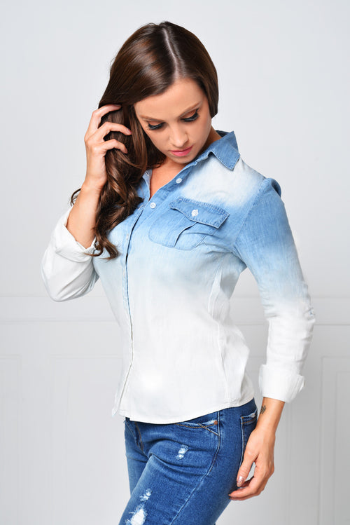 Positively Perfect Wash Denim Shirt - Fashion Effect Store  - 1