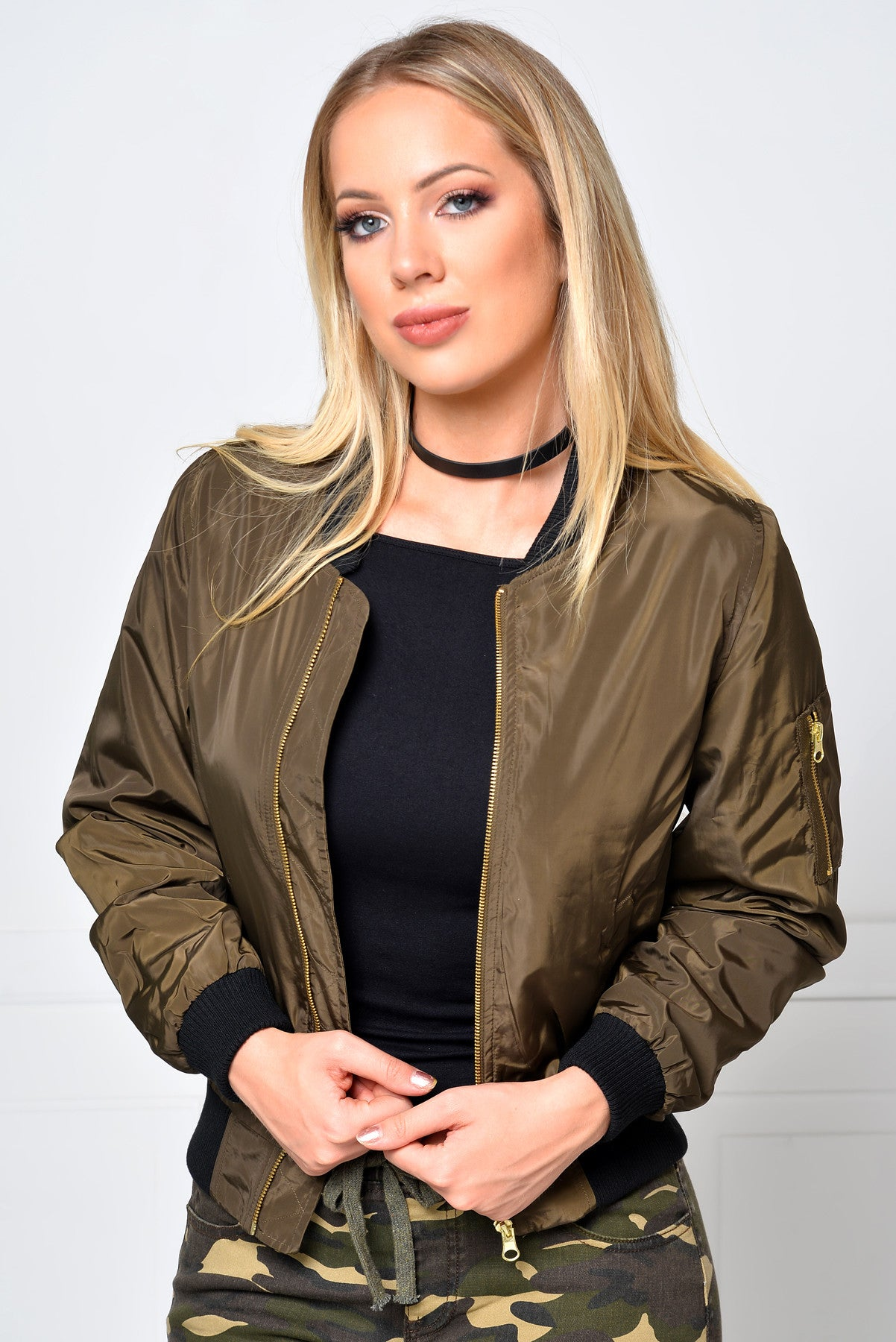 Limitless Olive Bomber Jacket - Fashion Effect Store  - 1