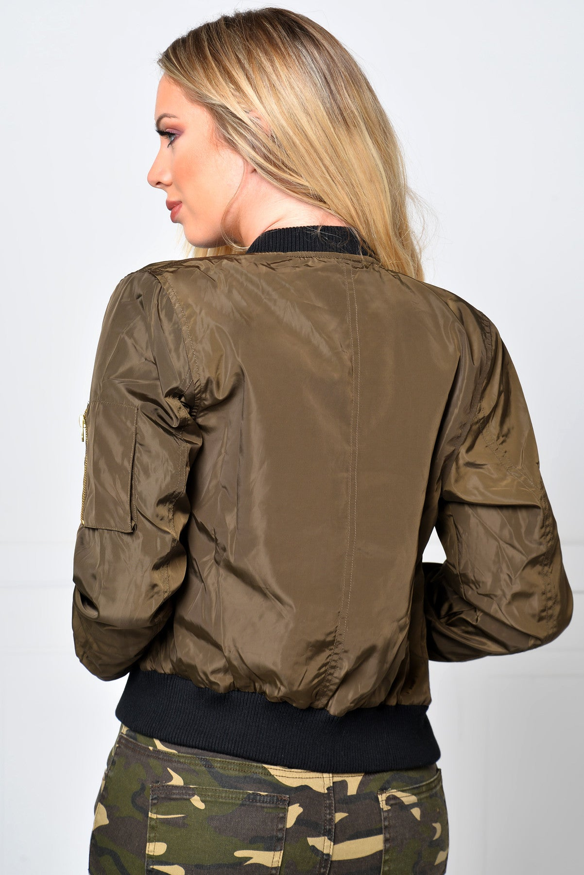 Limitless Olive Bomber Jacket - Fashion Effect Store  - 2