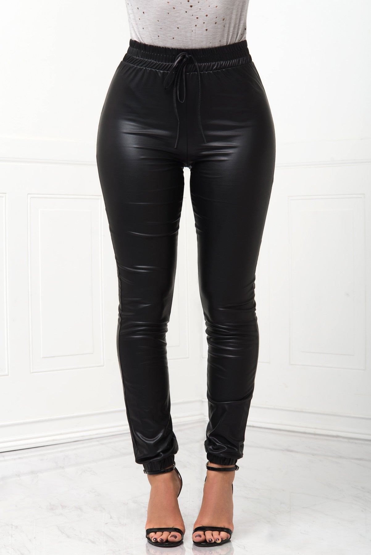 RESTOCK Tish Faux Leather Joggers - Fashion Effect Store  - 1