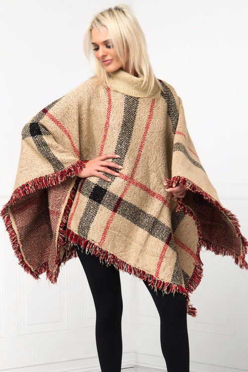 One Of A Kind Taupe Poncho - Fashion Effect Store  - 1