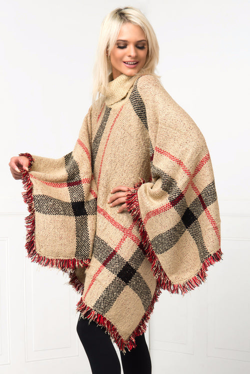One Of A Kind Taupe Poncho - Fashion Effect Store  - 2
