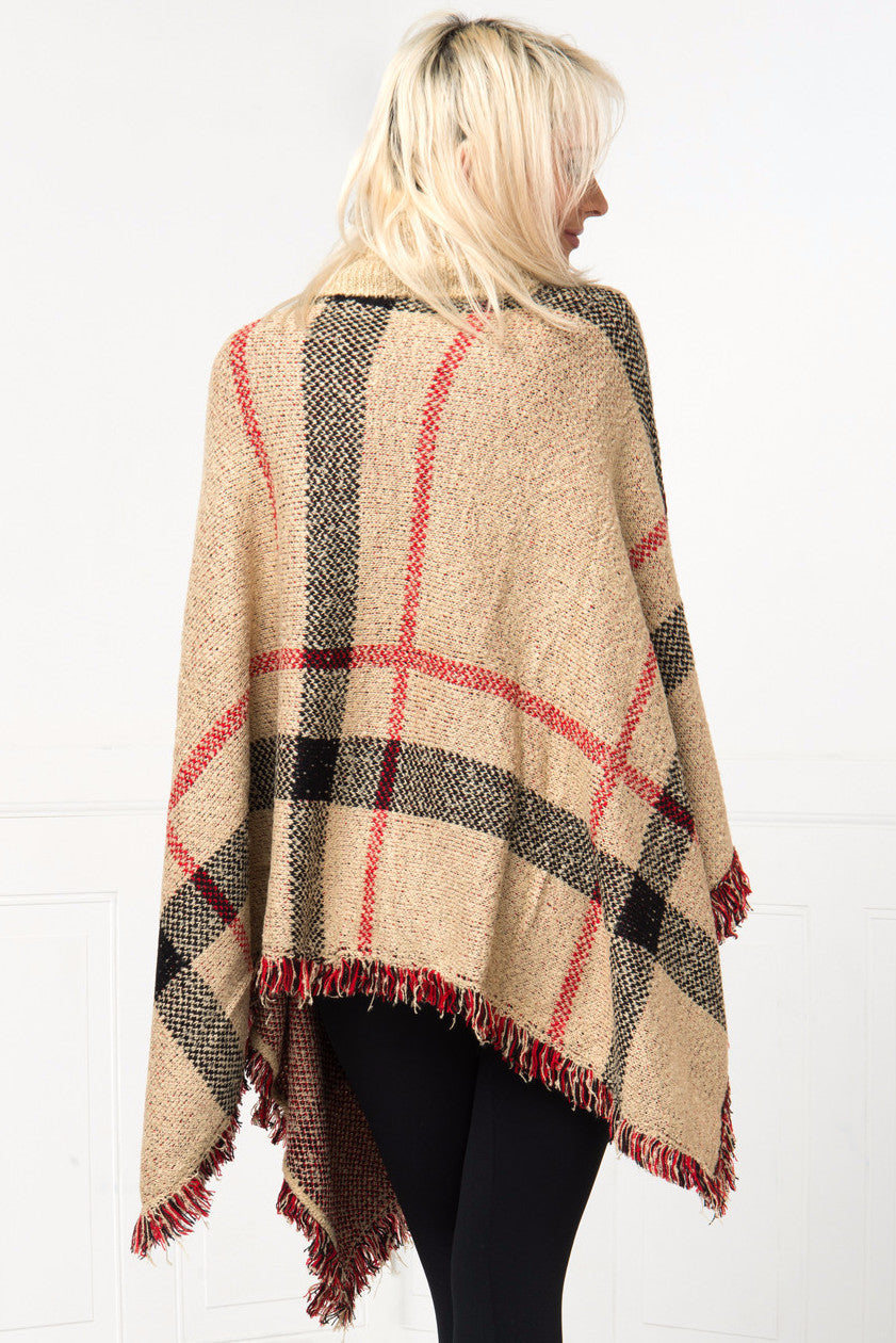 One Of A Kind Taupe Poncho - Fashion Effect Store  - 3