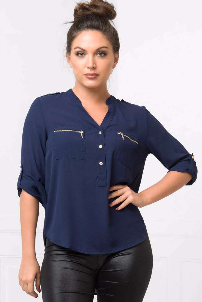 Let's Talk Navy Blouse - Fashion Effect Store  - 1