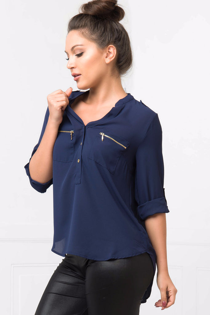 Let's Talk Navy Blouse - Fashion Effect Store  - 2