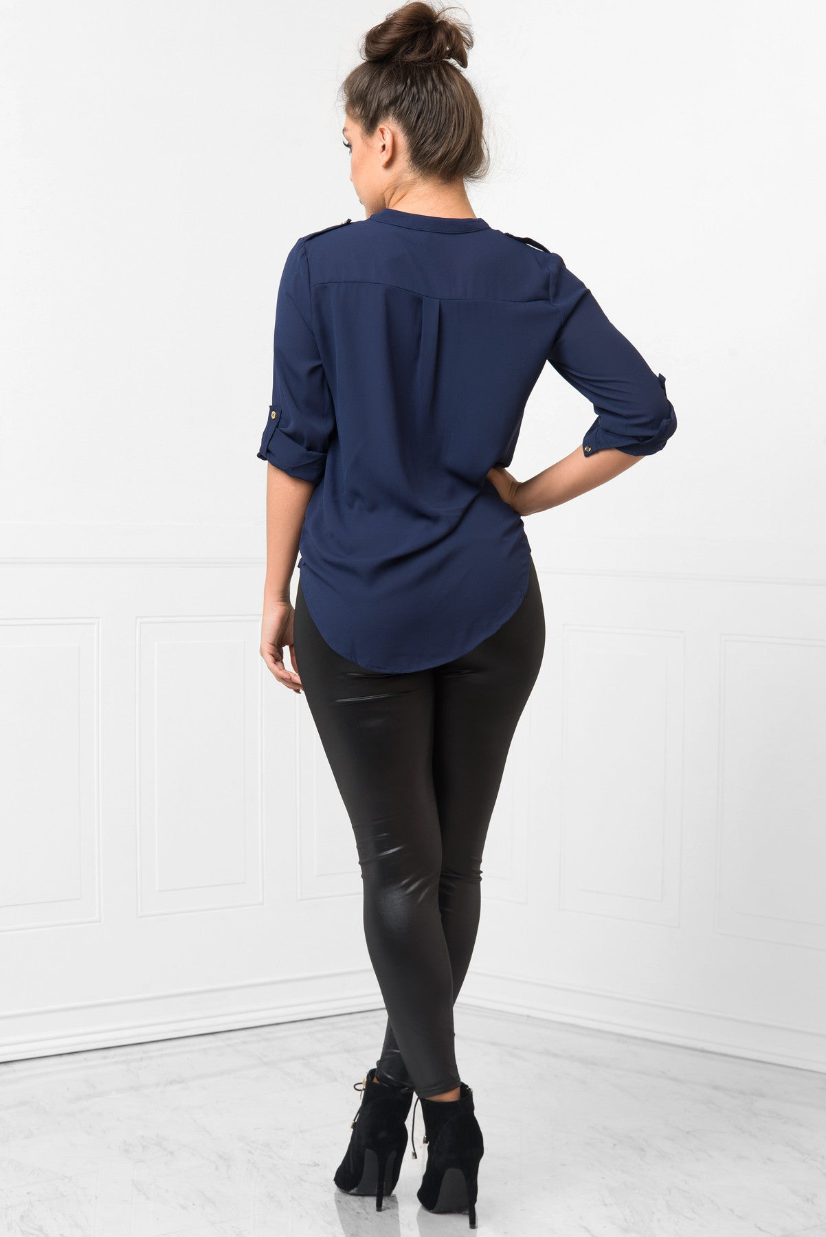 Let's Talk Navy Blouse - Fashion Effect Store  - 3