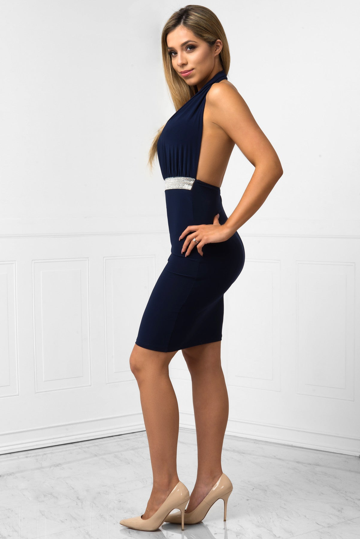 Jessa Navy Dress - Fashion Effect Store  - 3
