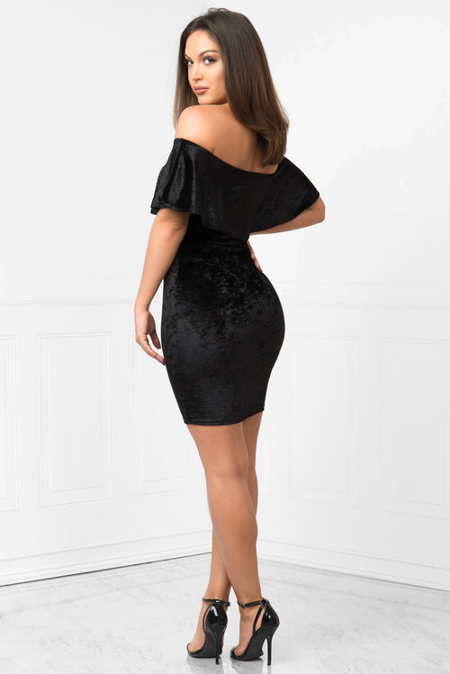 Miranda Black Velvet Dress - Fashion Effect Store  - 2
