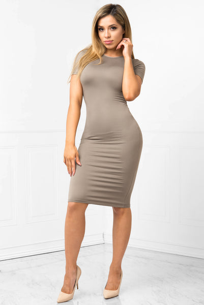 You Belong To Me Taupe Dress - Fashion Effect Store  - 1