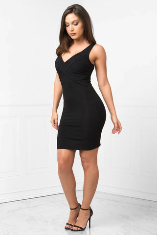 Mayte Black Mini Dress - Fashion Effect Store  - 2