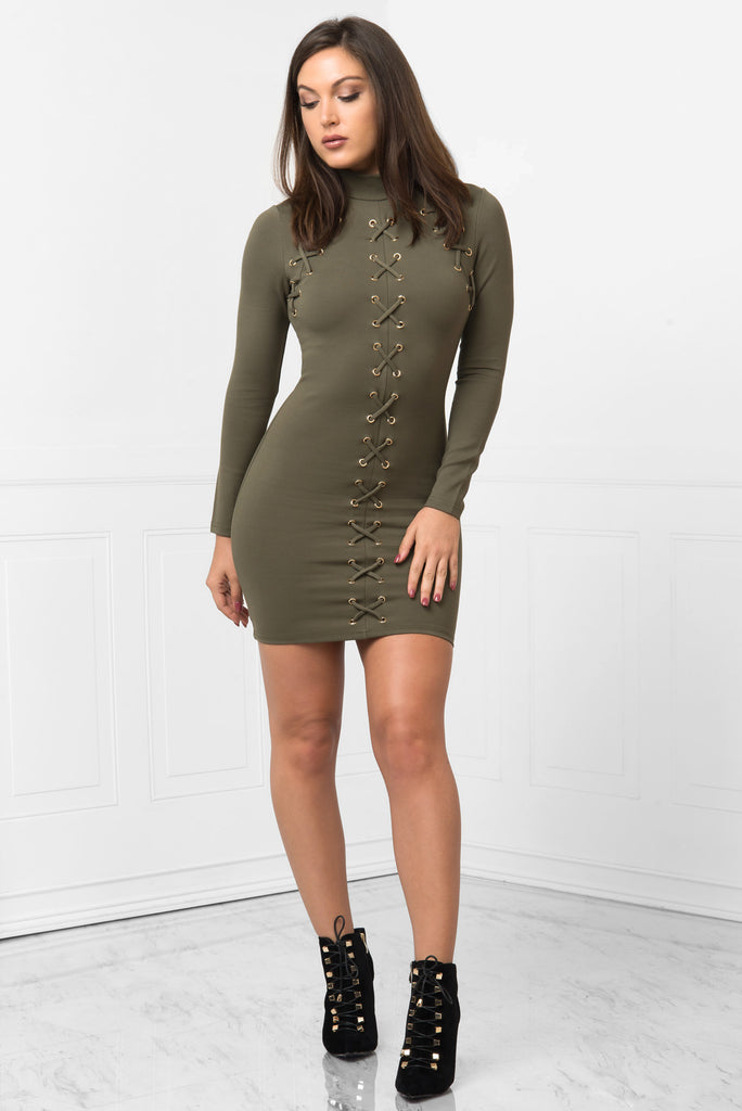 Karol Olive Dress - Fashion Effect Store  - 1