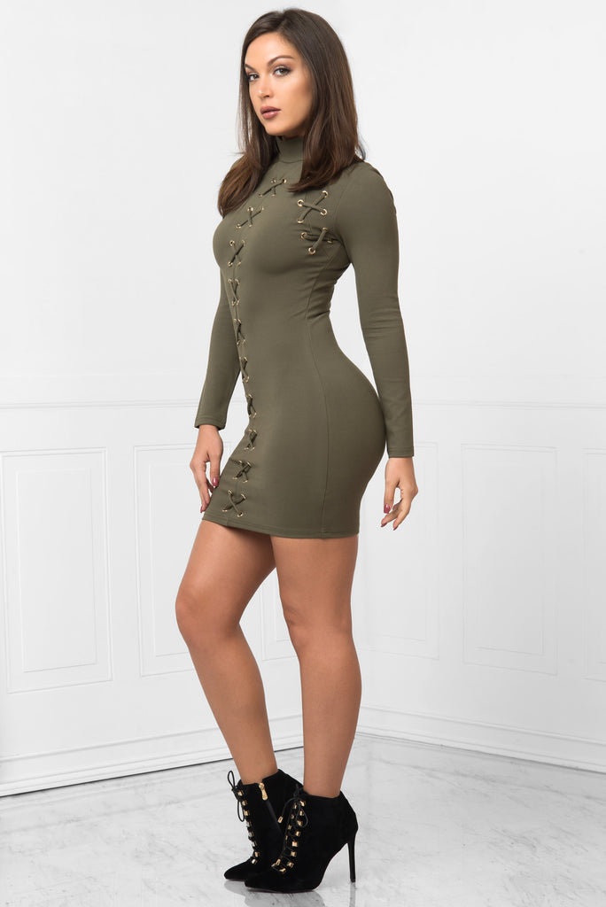 Karol Olive Dress - Fashion Effect Store  - 2