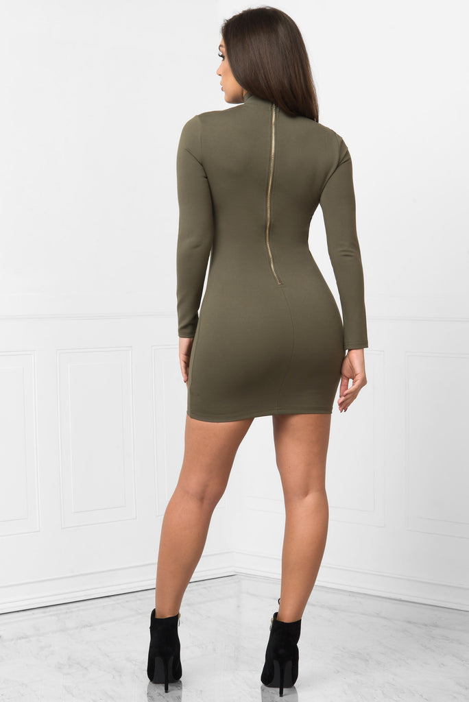 Karol Olive Dress - Fashion Effect Store  - 3
