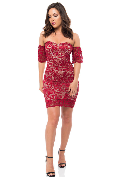 Jana Burgundy Lace Dress - Fashion Effect Store  - 1