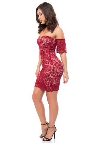 Jana Burgundy Lace Dress - Fashion Effect Store  - 2